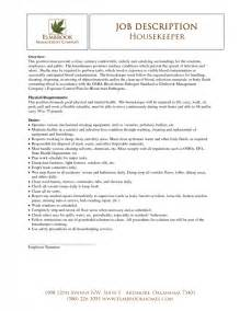 hospital housekeeper resume exles housekeeping description for resume sles of resumes