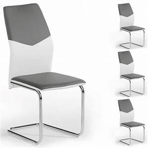 Lot de 4 chaises leona pu blanc gris achat vente chaise for Salle À manger contemporaineavec lot de chaise pas cher