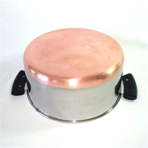 revere ware copper clad stainless steel covered  qt sauce pot copperton lane antiques
