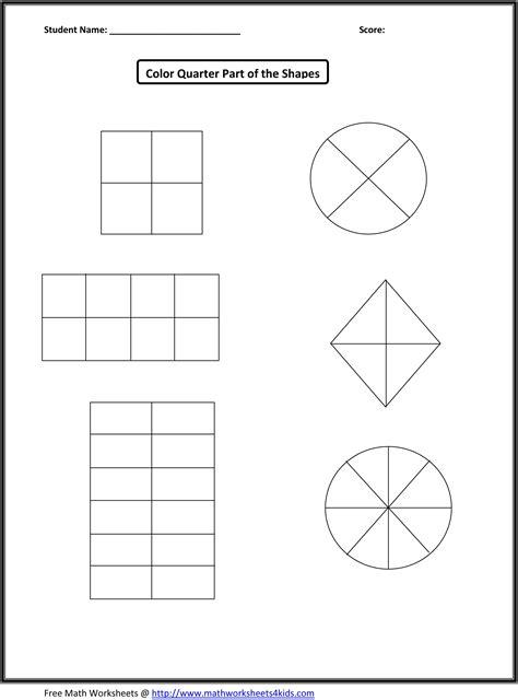 Colouring Fractions Of Shapes Worksheets Ks2  Fraction Worksheets For Children From