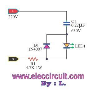 Simple Mains Voltage Indicator Circuit With Led