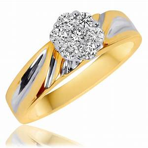 1 3 ct tw diamond ladies39 engagement ring 10k yellow With ladies wedding rings gold