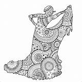 Flamenco Dancer Coloring Patterns Stress Anti Zentangle Paisley Pages Zen Shape Adults Adult Female Justcolor sketch template