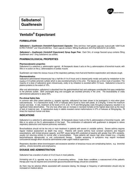 Ventolin Expectorant   Asthma   Chronic Obstructive