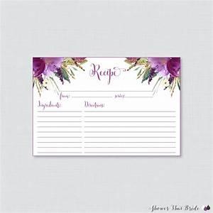 purple floral bridal shower recipe cards printable bridal With wedding shower cards printable
