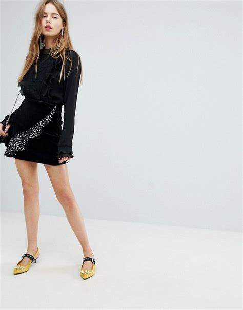 bershka velvet asymmetric ruffle skirt  images