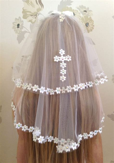 girls white communion veil  holy communion