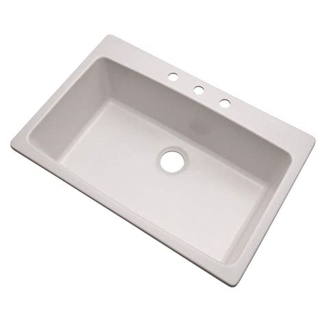 white single bowl kitchen sink mont blanc rockland dual mount granite 33 in 3 1868
