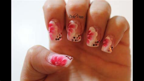 decoracion de unas  flores  stroke flowers nail