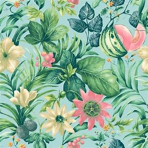 Grandeco Botanical Fruit Flower Pattern Wallpaper Tropical