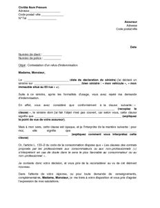 clause de non concurrence exemple lettre de contestation d un refus d indemnisation fond 233 sur une clause peu mod 232 le de