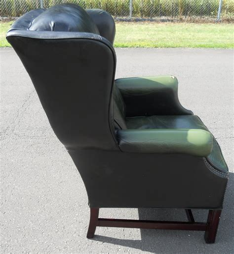 Green Leather Armchair by Green Leather Wing Armchair
