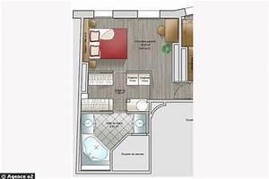 14 plans pour moderniser un appartement cote maison With plan de chambre avec dressing et salle de bain