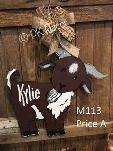 goat door hanger farm door decor baby decor