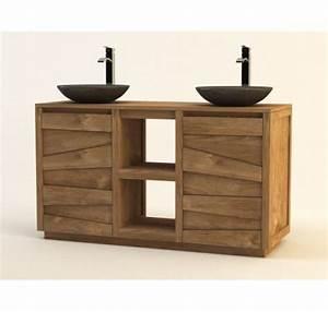 Meuble Double Vasque Noir : meubles salle de bain mobilier bois teck lecomptoirdesauthentics ~ Teatrodelosmanantiales.com Idées de Décoration