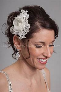 Lace And Silk Flower Bridal Head Piece Wedding Lace Hair