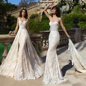 robe de mariee 2017 new champagne mermaid wedding dresses With wedding dresses with trains that detach