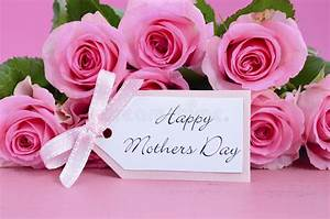 Happy Mothers Day Pink Roses Background. Stock Photo ...