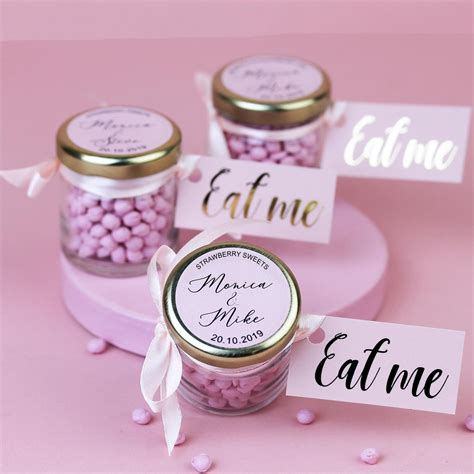personalised strawberry sweets  jars  wedding favours