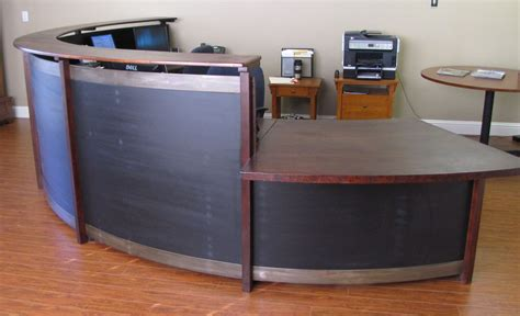 curved reception desks curved reception desk cherry steel black stained wood