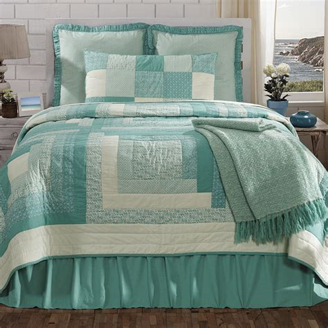 King Size Quilt And Shams by New Vhc Country Cottage Sea Glass Quilt Sham Set