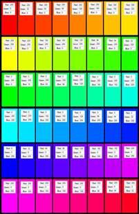 Rainbow RGB Color Codes