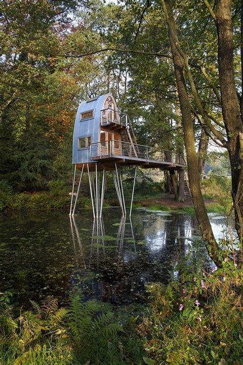 unusual forest cabin  stilts  pond modern house designs
