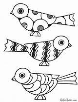 Mosaic Patterns Oiseaux Coloriage Coloring Drawing Paint Deco Bird Oiseau Birds Animaux Coloriages Colorier Books Painted Vogels Dessin 1920s Notch sketch template