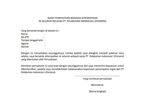 contoh surat pernyataan bersedia ditempatkan di mana saja