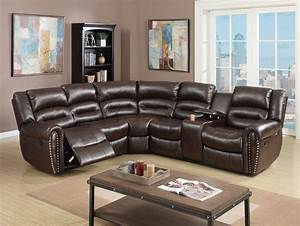 brown bonded leather home theater reclining sectional With home theater reclining sectional sofa
