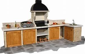 cuisine d39ete en pierre reconstituee composee de 6 modules With cuisine d ete en pierre