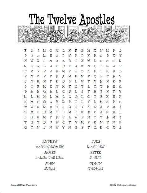 twelve apostles word search that resource site