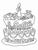 Cake Coloring Birthday Printable Colouring Cakes Para sketch template