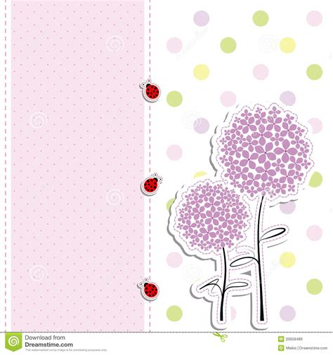card design purple flower polka dot background royalty