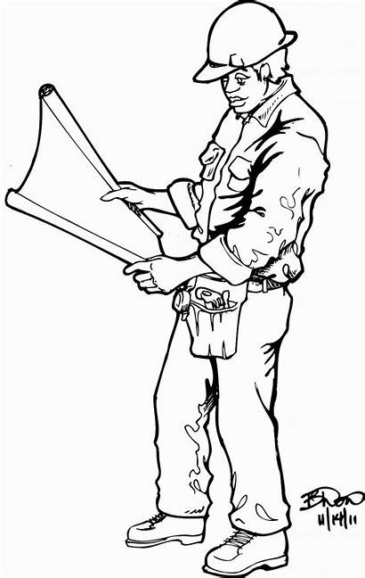 Construction Worker Coloring Pages Printable Drawings Deviantart