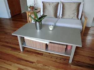 Small Rectangle Wooden Coffee Table Painted With Silver