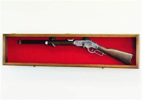 single pistol display case wall mount solid hardwood cabinet cherry finish blue felt background