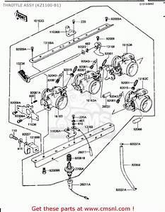 Kawasaki Kz1100b1 Gpz 1981 Usa Canada Throttle Assy  Kz1100-b1