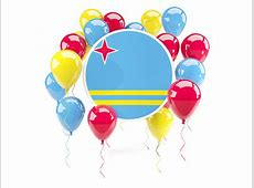 Round flag with balloons Illustration of flag of Aruba