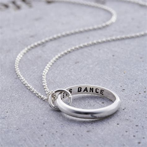 personalised secret script ring necklace by posh totty