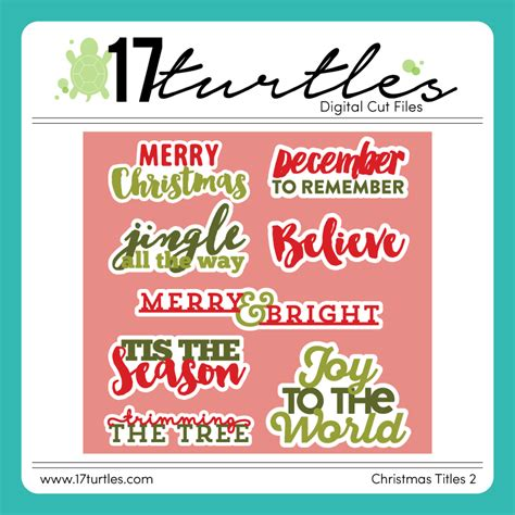 merry christmas titles 17turtles merry titles fonts and digital cut file