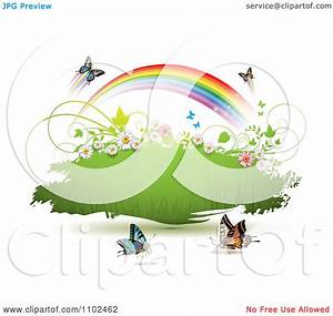 Clipart Butterfly And Rainbow Green Grunge Banner 1 ...