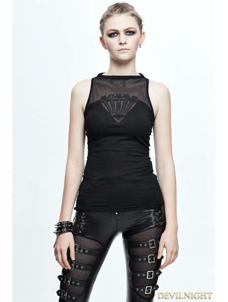 Black Gothic Sleeveless Net Top for Women - Devilnight.co.uk