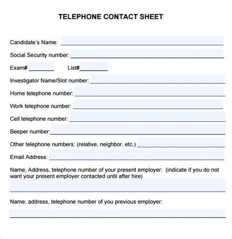 contact sheet template 6 sle contact sheets sle templates