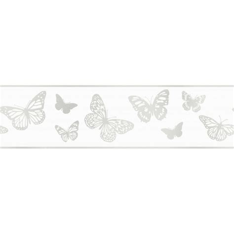 fine decor glitz butterfly glitter wallpaper border white