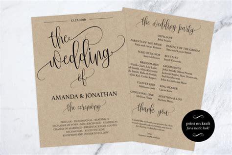 wedding program printable printable wedding program