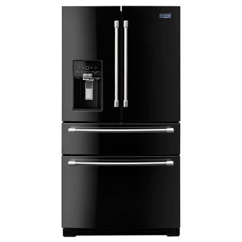 French Door Refrigerator: Black French Door Refrigerator With Ice Maker