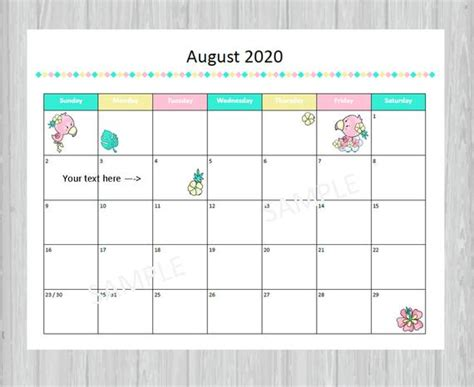 printable august  calendar seasonal monthly calendar
