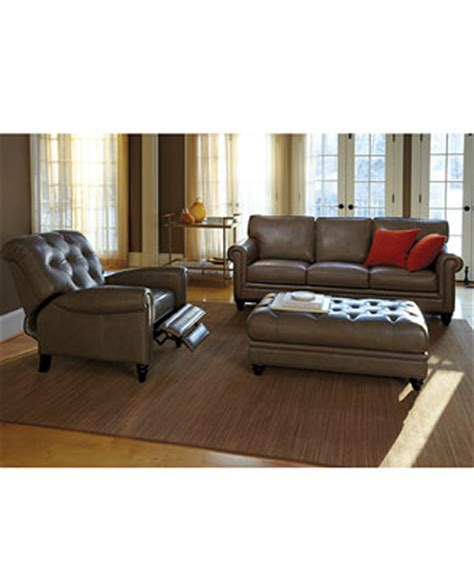 Living Room Furniture At Macy S by Martha Stewart Bradyn Leather Sofa Living Room Furniture