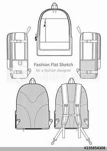 Backpack Design Illustration Flat Sketches Template